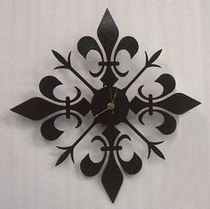 Fleur de lis metal art clock by Knob Creek Metal Arts (etsy). Metal Clock, Metal Art, Cool Clocks, Metal Wall Decor, Metal Walls, Creations, Symbols, Etsy, Ideas