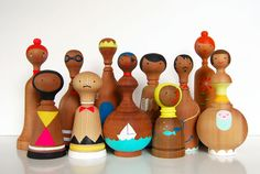 Wonderful hand-painted wooden dolls by Lorena Siminovich