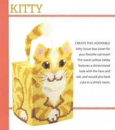 DIGITAL PATTERN  Tabby Kitty Boutique Tissue Box Cover 7 Ct Plastic Canvas