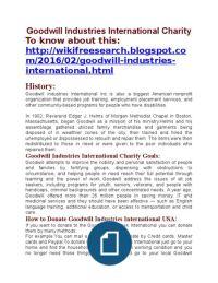 Goodwill Industries International Charity