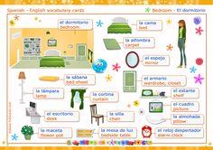 Vocabulario español - inglés: el dormitorio - the bedroom. Vocabulario Inglés, ver tarjetas postales virtuales - TuParada.com