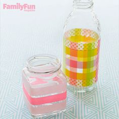 Vase Craze: Transform items destined for the recycling bin into a vase or pencil cup by adding washi tape to clean glass jars or bottles. Create a plaid pattern by crisscrossing different colors of tape.