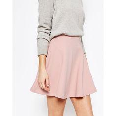 ASOS Skater Skirt in Texture (260 MXN) ❤ liked on Polyvore featuring skirts, tall skirts, pink circle skirt, flared skirts, elastic waist skirt and elastic waist circle skirt