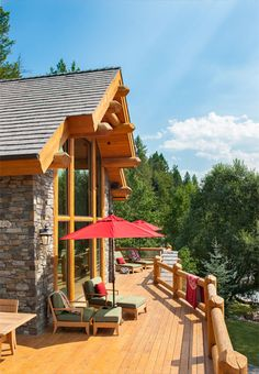Log Deck - Precision Craft Hybrid Log and Timber Home - Windermere, BC Hybrid Home