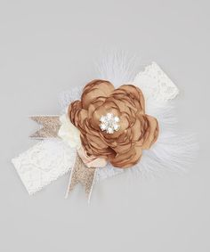 This Ivory & Mocha Sparkle Lace Headband by Just Couture is perfect! #zulilyfinds