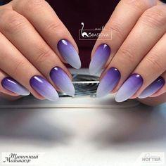 Дизайн Ногтей 2019 #bluenail Purple Ombre Nails, Mauve Nails, Purple Manicure, Purple Glitter, Purple Nail Designs, Nail Art Designs, Oval Nails, Toe Nails, Nagellack Design