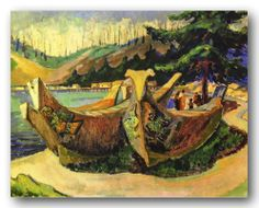 'War Canoes' by Canadian artist, Emily Carr: – Tom Thomson, Impressionist Paintings, Landscape Paintings, Small Paintings, Impressionism, Landscapes, Canadian Painters, Canadian Artists, Emily Carr Paintings