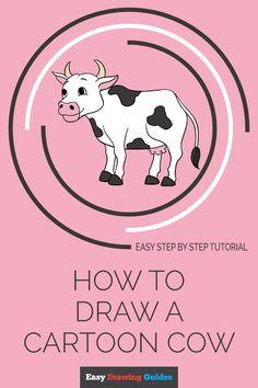 Cartoon Cow, Cartoon Faces, Cartoon Drawings, Animal Drawings, Pencil Drawings, Cow Drawing Easy, Drawing For Kids, Easy Drawings, Drawing Pin
