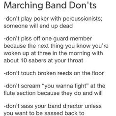 I know for sure that the last one is true! Music Jokes, Music Humor, Flute Memes, Flute Quotes, Choir Memes, Marching Band Jokes, Marching Band Problems, Color Guard Quotes, Funny Band Memes
