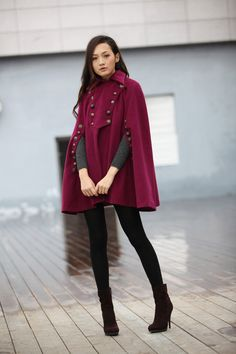 Cold Season Style: Keep Cozy with a Chic Cape | Poncho coat ...