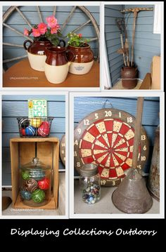 Displaying vintage collections on the patio.
