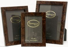 3 New Luxury MARLBOROUGH COLLECTION Polished Burl Wood Picture Photo Frames #Marlborough #Modern