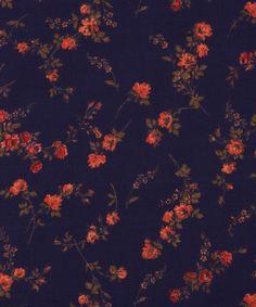 "LIBERTY ART FABRICS /""ELIZABETH C/"" PER HALF METRE floral tana lawn cotton NAVY"