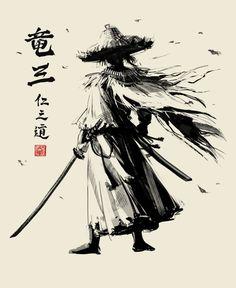 Female Samurai Tattoo, Samurai Drawing, Samurai Artwork, Japanese Art Styles, Traditional Japanese Art, Japanese Artwork, Japanese Art Samurai, Japanese Tatto, Ninja Kunst