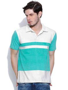 Dream of Glory Inc. Beige & Blue Striped T-shirt