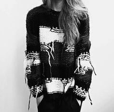 Contemporary Knitwear - mixed knit sweater with graphic contrast & texture