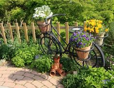 #Garden #Decor Bicycle with pots