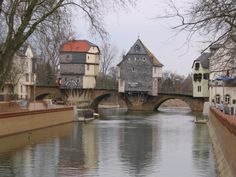 Famous Brückenhaüser (Bridge Houses) in Bad Kreuznach, Germany. The stone bridge dates from 1300 and the houses from ~ 1480.