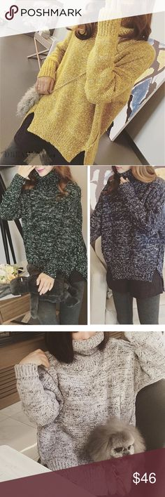 """Oversized turtle neck sweater Material: acrylic, length: 22.5-26.5 bust: 40-45"""". One size Sweaters"""