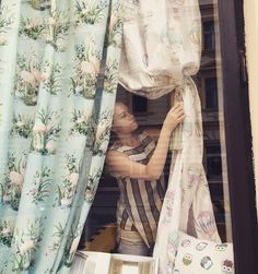 Window shop decorating with fabric ❤️