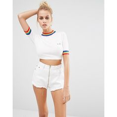 UNIF Rainbow Trim Cropped Knit Top ($119) ❤ liked on Polyvore featuring tops, whitemulti, white top, white jersey, knit jersey, jersey knit tops and knit tops
