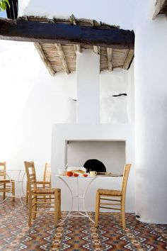 Eclectic traditional greek house design in Skyros by George Carabellas of Porch And Terrace, Terrace Floor, Interior Architecture, Interior And Exterior, Interior Design, Outdoor Spaces, Outdoor Living, Gazebos, Casa Patio