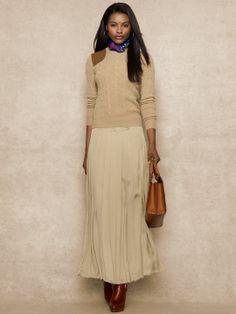 Long Pleated Chiffon Skirt - Long Skirts  Skirts - RalphLauren.com