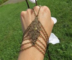 Hand Chain, Hand Bracelet, Victorian, Chained, Filigree, Bronze, Slave Bracelet, Ring Bracelet, Bracelets