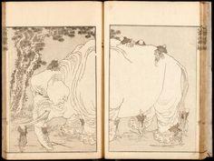 Blind men with an elephant, Katsushika Hokusai