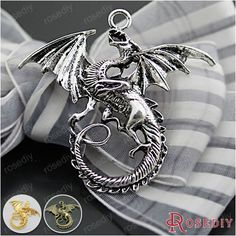 (27063)10PCS 47*43MM Antique Silver Plated Zinc Alloy Necklaces Pendants Dragon Pendants Diy Handmade Jewelry Findings