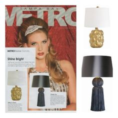 """Verner Lamp and Tassel Table Lamp in Blue by Arteriors Home """"Shine Bright"""" in this month's Tampa Bay Metro!"""