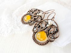 Wire earrings Morning Glory by UrsulaOT