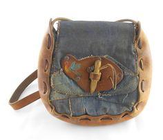 Vintage Boho Purse  Denim and Leather Bag by TheRetroStudio, $26.50