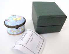 KELVIN CHEN Enamel Hinged Box BLUE Baby Carriage Small Oval EH517