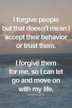 Forgiving someone puts you in control, with every situation its easier said then done but never let old situations be the reason you can't move forward. #PGClinicalisheretohelp