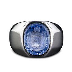 Sapphire Intaglio Vintage Gents Ring, 1930's.