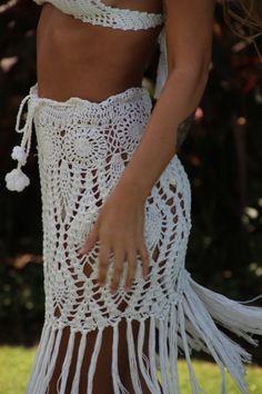 Crochet mini skirt with fringe crochet short skirt by EllennJames