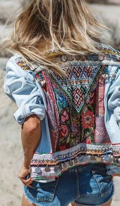 $150 Cool Tribal Boho Chic Style Light Bue Denim Jacket With Multicoloured Patterning Embroidery
