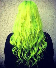Fluorescent Yellow Neon Hair Styling
