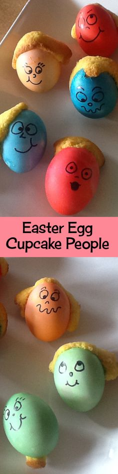 Easter Egg Cupcake People - from Cupcake Project:  What an awesome idea! #Wickelssmolly