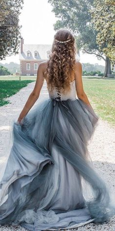 27 Colourful Wedding Dresses For Non-Traditional Bride ❤ colourful wedding dresses a line low back tulle skirt frenchknotcouture #weddingforward #wedding #bride