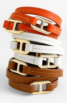 Tory Burch Plato leather double-wrap bracelets. These can join my arm party too!