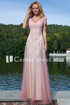Shop affordable Sheath Long Appliqued V-Neck Short-Sleeve Tulle Prom Dress at June Bridals! Over 8000 Chic wedding, bridesmaid, prom dresses & more are on hot sale. High Low Lace Dress, High Low Prom Dresses, Chiffon Dress Long, Chiffon Evening Dresses, Blush Bridesmaid Dresses Long, Sparkly Prom Dresses, Tulle Prom Dress, Wedding Dresses, Long Mermaid Dress