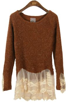 Coffee Long Sleeve Contrast Lace Ruffles Sweater - use an old slip for the lacy parts
