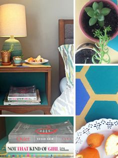HGTV Show-and-Tell: Liz's Geometric Nightstand --> http://www.hgtv.com/shows/danmade/how-tos/how-to-make-a-floating-bookshelf-with-old-belts?soc=pinterest