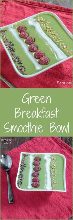 Green Smoothie Bowl - This healthy, filling green smoothie recipe for breakfast! This smoothie bowl is filled with fruit, veggies and protein to start your day off on the right foot!