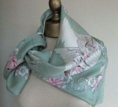 1930s vintage antique silk scarf eau de nil by foulardfantastique, $35.00
