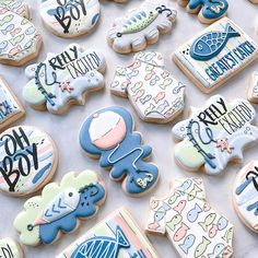 Baby Shower Desserts, Boy Baby Shower Themes, Baby Shower Gender Reveal, Baby Shower Parties, Baby Boy Shower, Baby Showers, Fish Cookies, Baby Cookies, Baby Shower Cupcakes