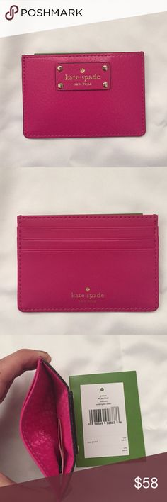"""NWT hot pink Kate spade card holder New with tags hot pink Kate spade card holder. The back has 3 card slots. Tag says the color is """" sweetheart pink"""". kate spade Bags Wallets"""