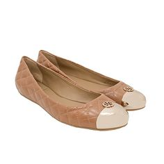 Tory Burch Kaitlin Ballet Flat Shoes Clay BeigeGold 85 -- Check out the image by visiting the link. Note:It is Affiliate Link to Amazon.